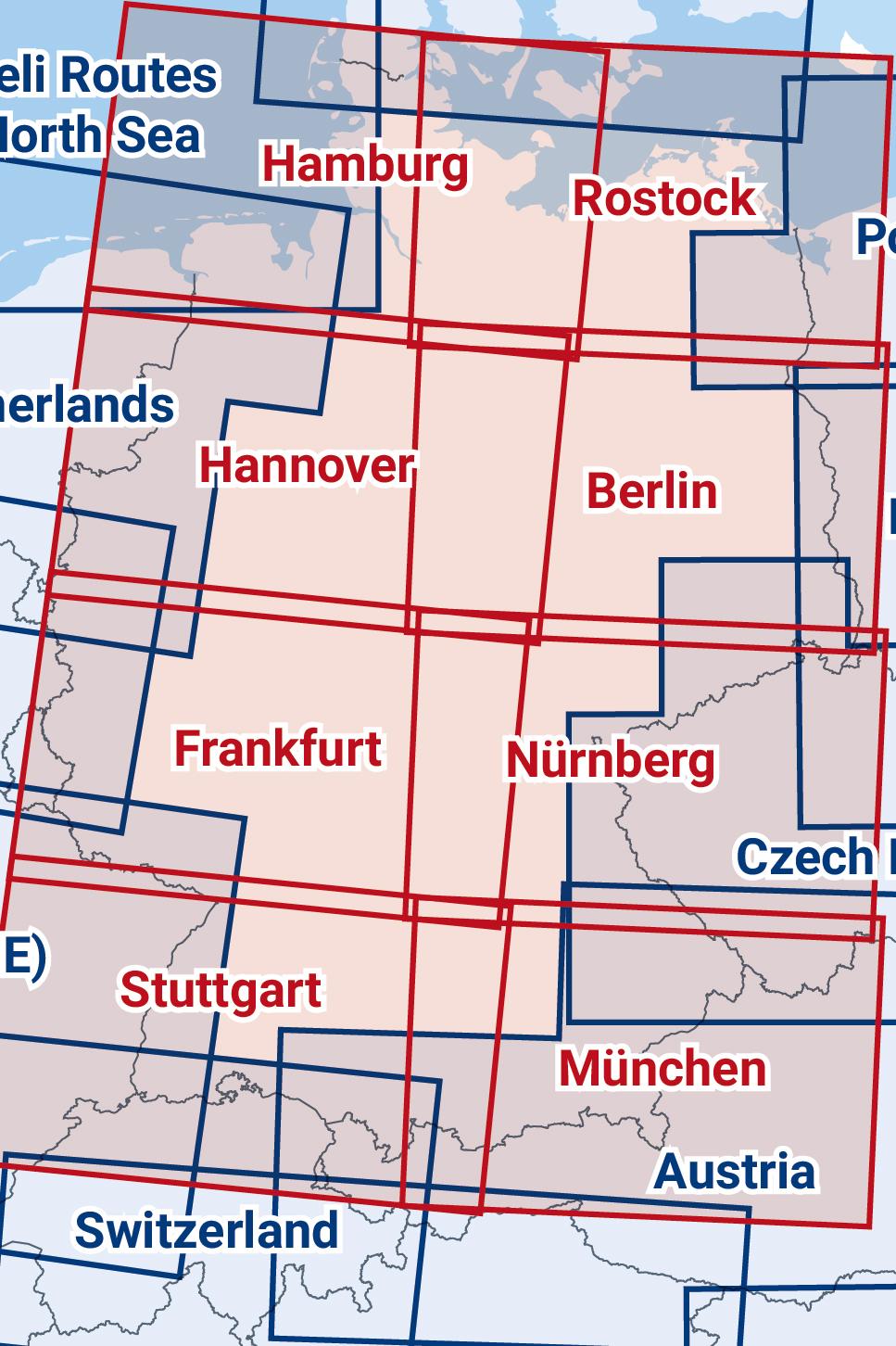 ICAO-Karte Segelflug Deutschland drei zusammengesetzte Blätter 2020 in Nord-Süd Ausrichtung