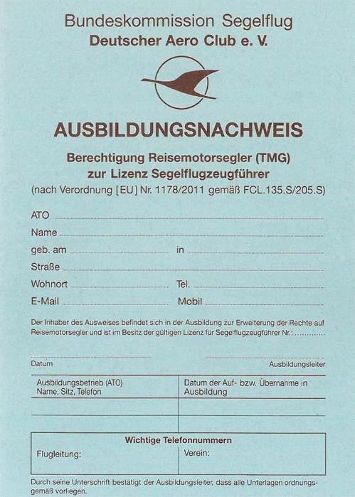 Ausbildungsnachweis Klassenberechtigung Reisemotorsegler zur Lizenz für Segelflugzeugführer