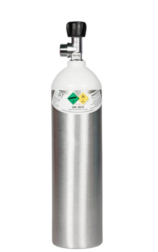 Alu-Sauerstoffflasche 2 Liter Austausch leere Flasche