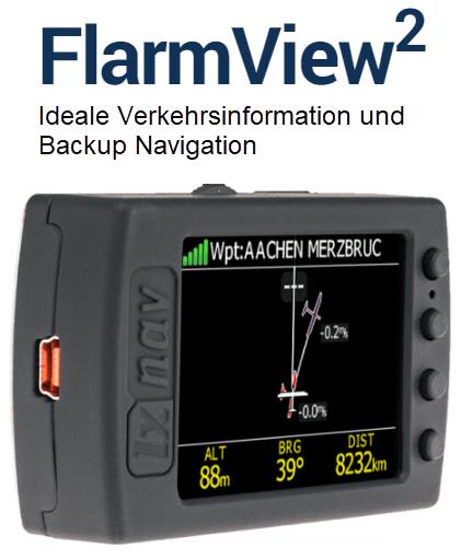 FlarmView2 ideale Verkehrsinformation und Backup Navigation