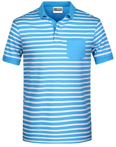 Herren Poloshirt Striped 8030-Marine-L