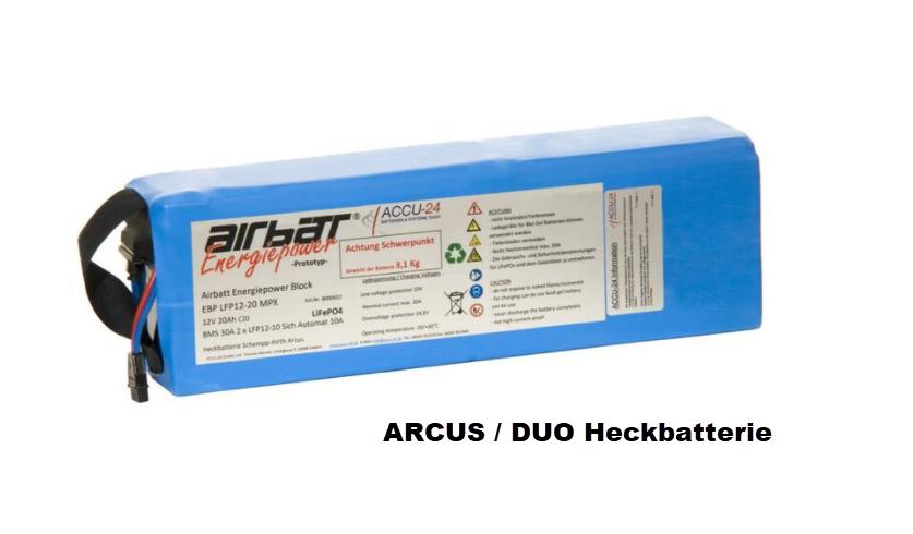 Heckbatterie ARCUS/DUO 12V 20AH LiFePO4