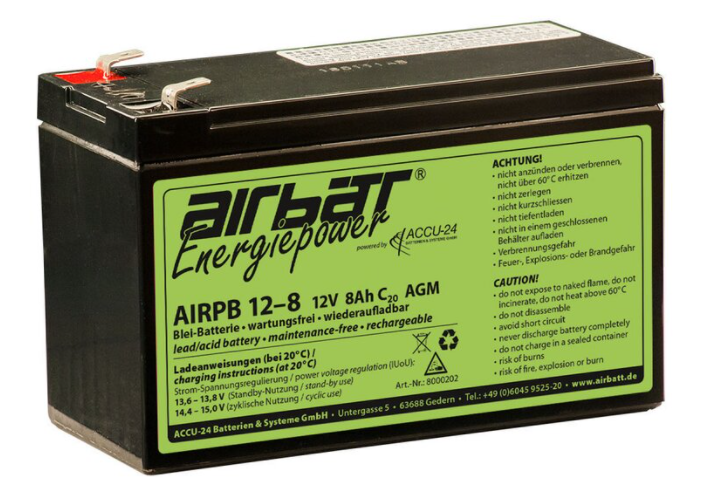 Blei/AGM Flugzeugbatterie Airbatt 12V 8Ah