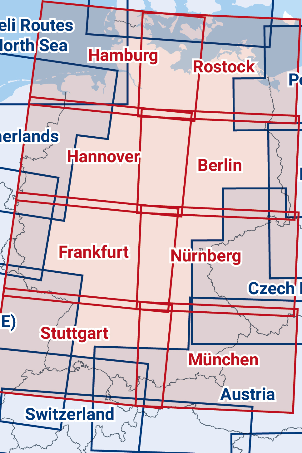 ICAO-Karte Deutschland zwei zusammengesetzte Blätter 2020 in Ost-West Ausrichtung